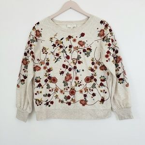braeve Anthropology Embroidery Pullover Sweatshirt